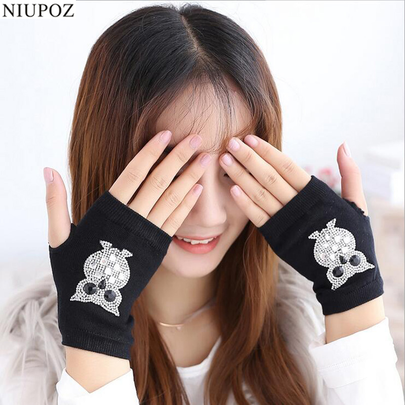 Female Lovely Winter Warm Knitted Fingerless Dancing Gloves Women Cool Cartoon Owl Bear Diamonds Rivet Sequins Skull Gloves G50