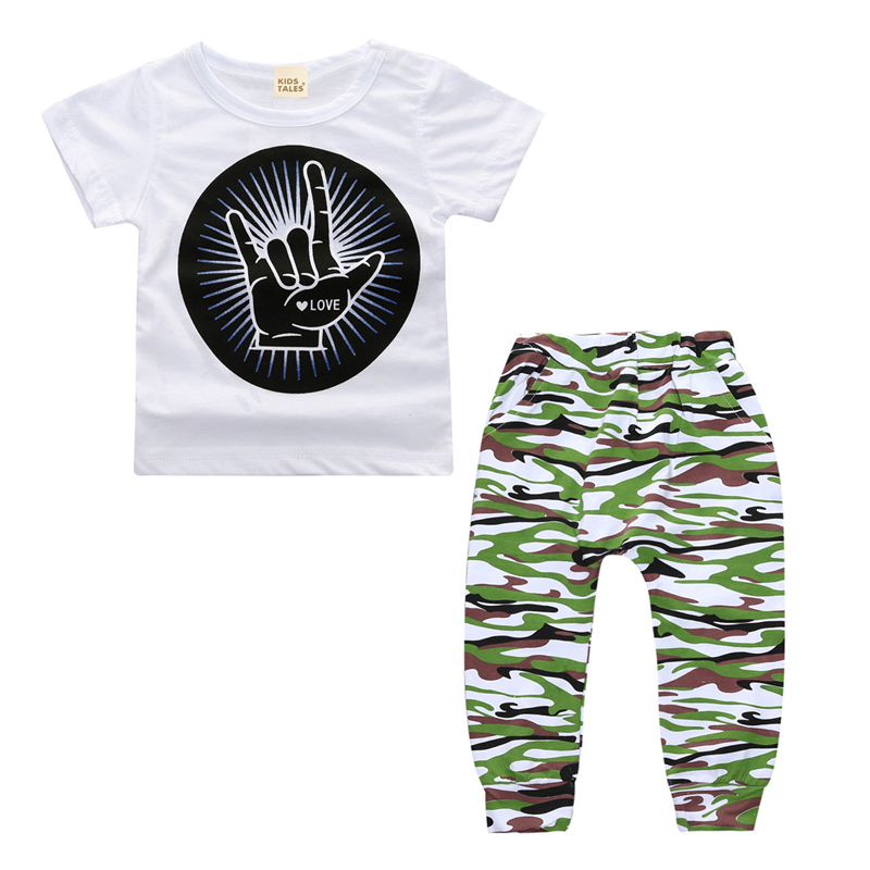 2017 summer baby fashion style baby boy clothes set, Cotton white shirt + camouflage trousers 2pcs sets