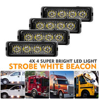 4pcs 12V 4 LED Car Truck White Yellow Warning Strobe Emergency Flashing Light Car Strobe Flash Light Dash Lamp