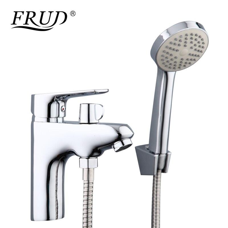 Frud 1 conjunto dispositivo elétrico do banheiro torneiras de liga zinco com cabeça chuveiro mão bacia água da pia do banheiro torneira banho misturador água