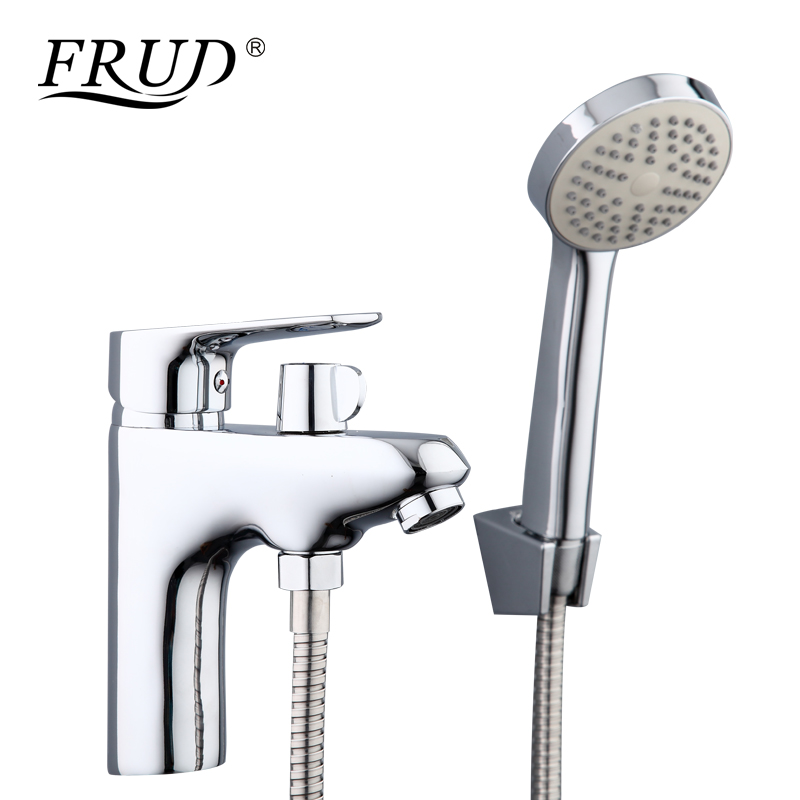Frud 1set bathroom fixture brass faucets with hand shower head toilet water basin sink tap bath sink faucet water mixer R12105 white bathroom basin faucet fixture brass modern sink tap toilet water basin sink tap bathroom sink faucets water mixer
