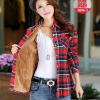 Female Long Sleeved Shirt New Fall And Winter Clothes Plus Velvet Thick Warm Lamb S Wool