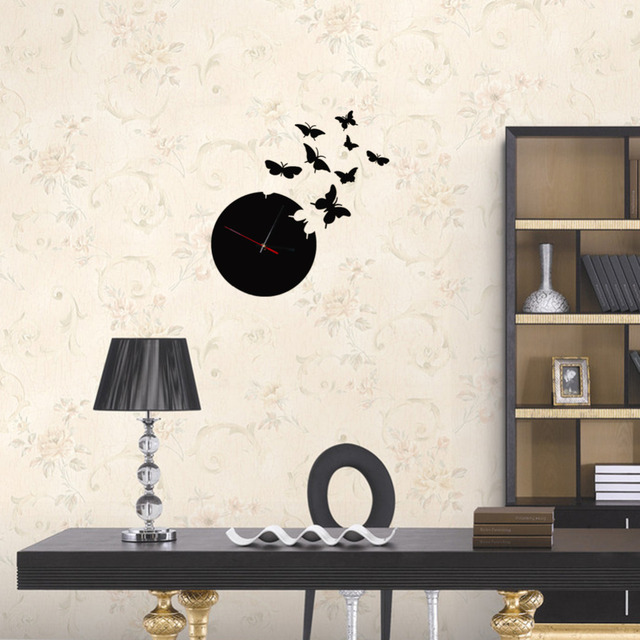 Superior Butterfly Wall Black Clock 3D Wall Mirror Sticker Clock Watch Mirror Stickers  Decals Wall Clock Fashion Home Design Ideas