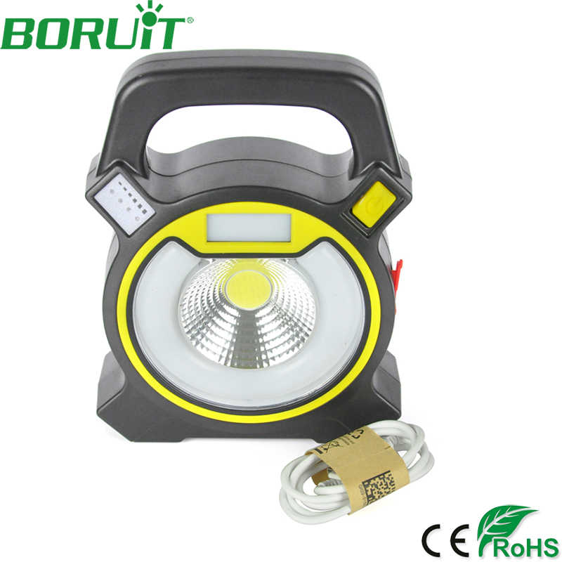 BORUiT 15W COB LED Flood Spotlight Outdoor Waterproof Camping Spot Flood Lamp Night Working Light Rechargeable Portable Lantern cob led flood light dimmable 100w portable led floodlight cordless work light rechargeable spot outdoor working camping lamp