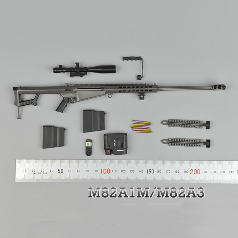 1/6 Metal Color Sniper Rifle Gun Model Barrett  M82A1 SASR Weapon Model for 12 inches Soldier Figure Accessory cross fire toy gun barrett sniper rifle capable of firing bullets soft bullet gun and there are children s toys flash sound gun