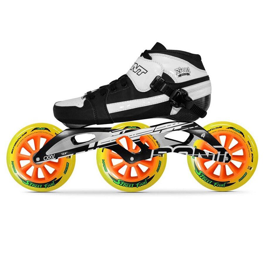 Rollschuhe, Skateboards Und Roller 100% Original Bont Verfolgung 2pt 195 Mm 2pf Cxxv Geschwindigkeit Inline Skates Heatmoldable Carbon Faser Boot Rahmen 3*125mm Räder Patines Hochglanzpoliert