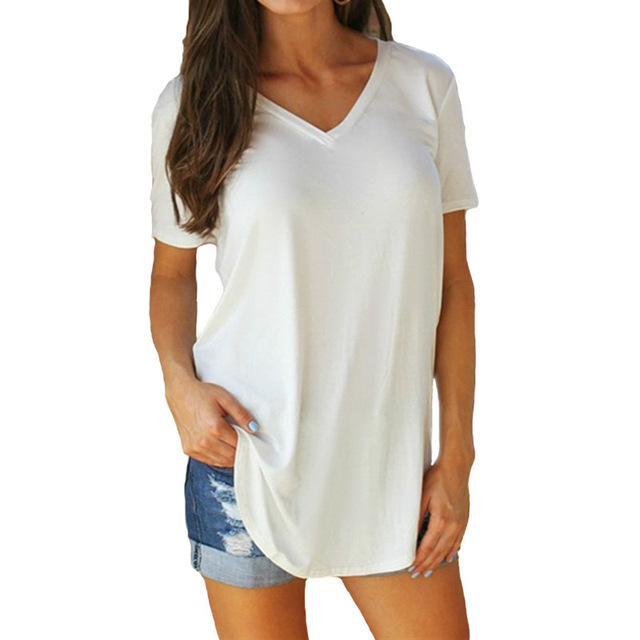 401e874a28d91 4XL Sexy V Neck White T Shirt Tall Women Plus Size T Shirts Loose ...