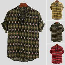 INCERUN летняя брендовая рубашка с принтом, модная мужская рубашка с коротким рукавом и стоячим воротником, Мужская свободная уличная рубашка, рубашка мужская