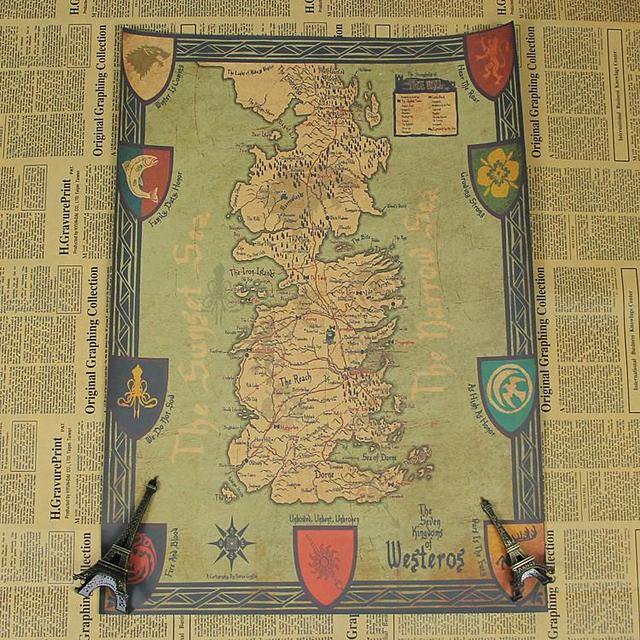 Game Of Thrones Retro World Map Kraft Paper Movie Poster Vintage