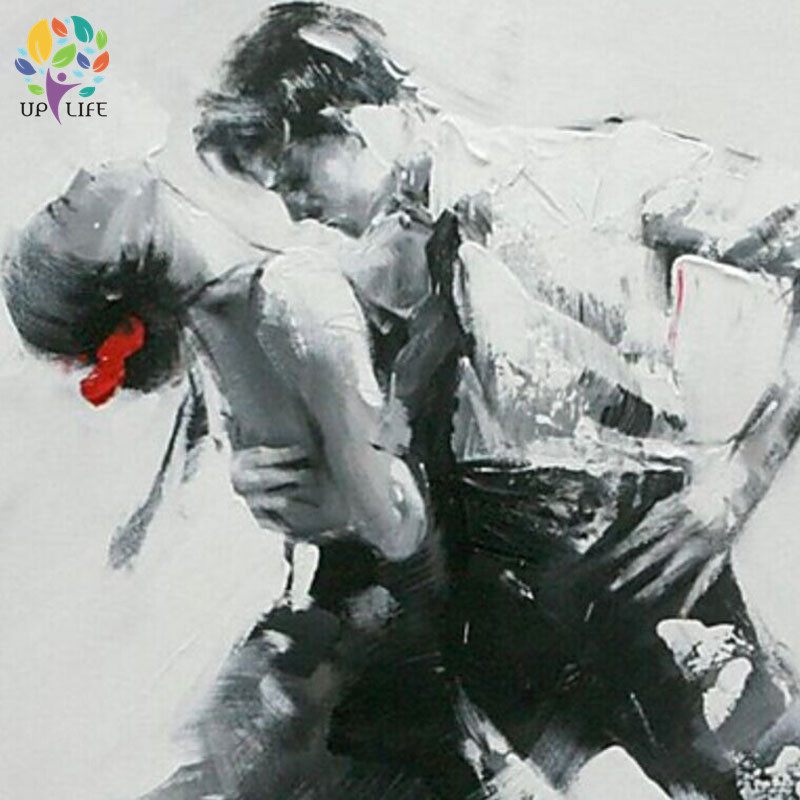 hand painted figure canvas oil painting elvis presley the king dancer picture lover couple wall art home decoration gray poster