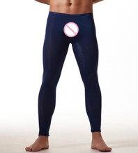 2017 Fashion Brand Men Sexy Ultra thin Transparent Pouch Ice Silk Pants Mens Home Lounge Pants Sleepwear Size M L XL
