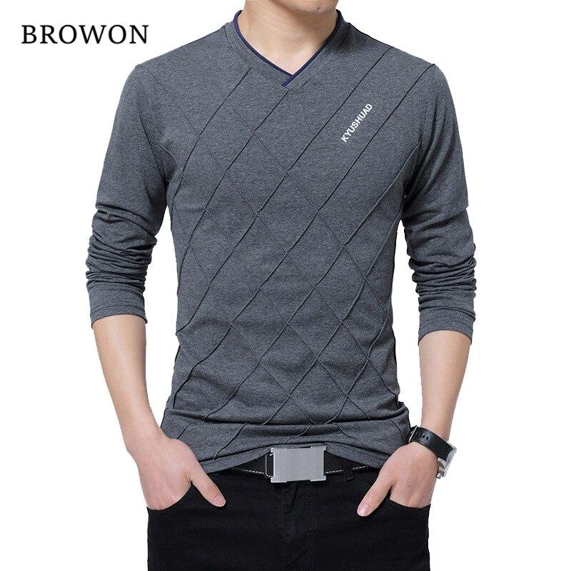 BROWON Мода 2017 г. Для мужчин футболка Slim Fit Пользовательские Футболка складки Дизайн долго стильный роскошный V шеи Фитнес футболка Homme