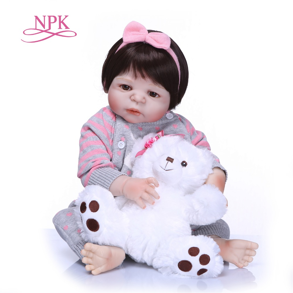 NPK Réaliste Silicone Reborn Bébé Menina Vivant 23 ''Nouveau-Né Bébé Poupées Plein Vinyle Corps Kid Brinquedos Baigner Jouets Cadeaux