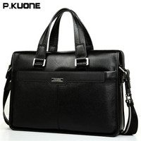 P KUONE Cow Leather Men Briefcase Exquisite Luxury Messenger Bag High Grade Atmosphere Handbags Brand 15