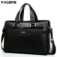 P KUONE Cow Leather Men Briefcase Exquisite Luxury Messenger Bag High Grade Atmosphere Handbags Brand 15