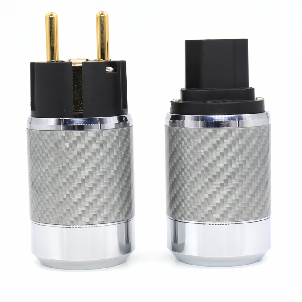 Free shipping one Pair Carbon Fiber Gold Plated EU Schuko Power plug+ IEC connector plug free shipping one pieces ac power cable audiophile power cord line with 24k gold plated eu version connector plug