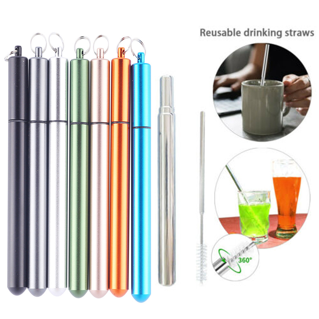 Mini Stainless Steel Telescopic Drinking Travel Straw Reusable w// Brush Pocket