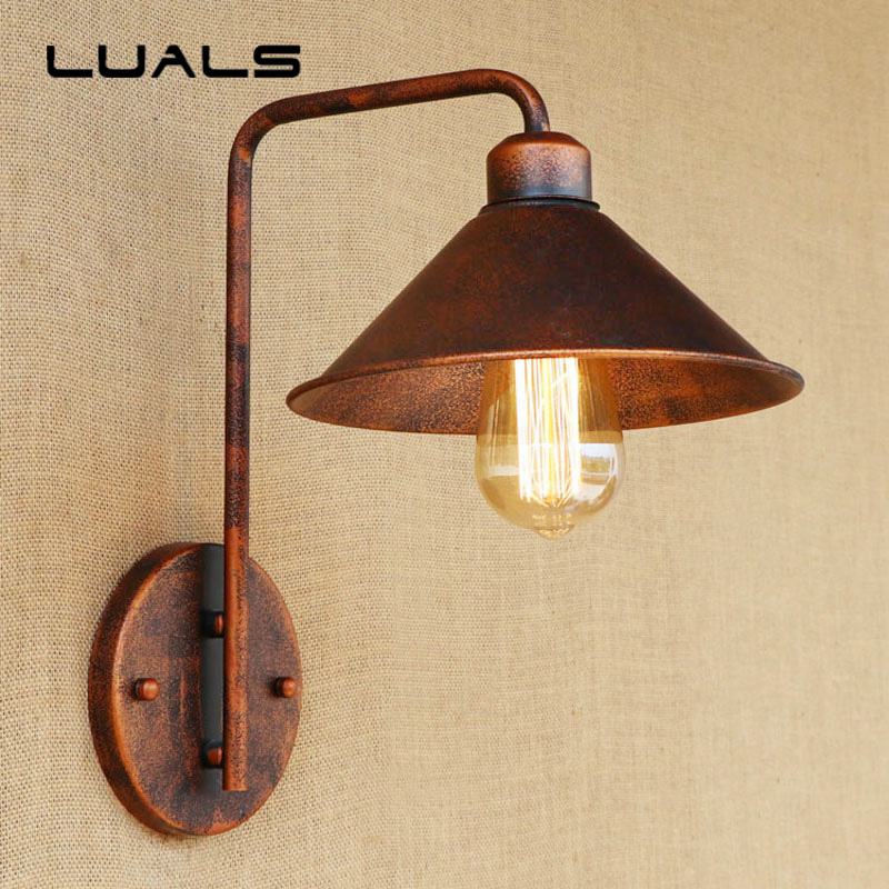 Loft Style Vintage Wall Lights Creative Iron Simple Rusty Color Wall Lamp Cafe Bar Restaurant Edison Wall Light Deco Lighting free shipping car auto 50kg 110 lbs force ball studs lift strut metal gas spring 500mm 200mm