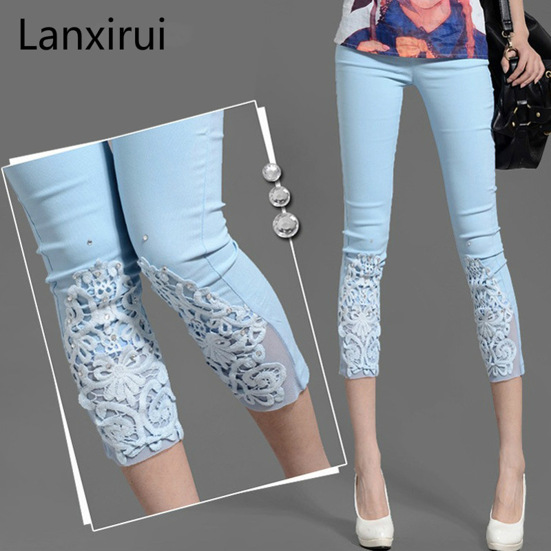 Women Lace Pants Crochet Rhinestone Skinny Stretch Cropped Crochet Lace Diamond Leggings Capris Pants Summer Plus Size S-4XL