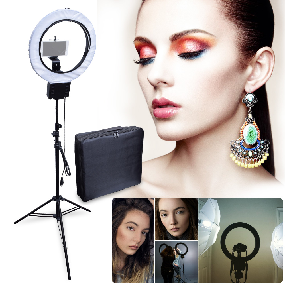 Studio 40W 5400K Diva Ring Light Lamp with 2M Tripod Stand + Camera Phone Holder Kit for Photography Make Up Video Photo Selfie wrumava 2 in 1 led ring selfie light with lazy phone holder 3 brightness holder bracket desk lamp for iphone android phone