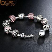 Antique Silver Charm Bracelet & Bangle with Love