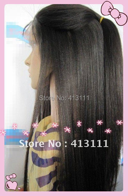 "Fashion malaysian remy yaki straight #1b 20"" 100% Queen Hair full lace wig china lacewigs free shipping whole sale price"