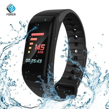 FORCA F601 Black Strap Large Screen Display Smart Bracelet Heart Rate Tracker Wristband Color LCD Watch for Men Women Sport