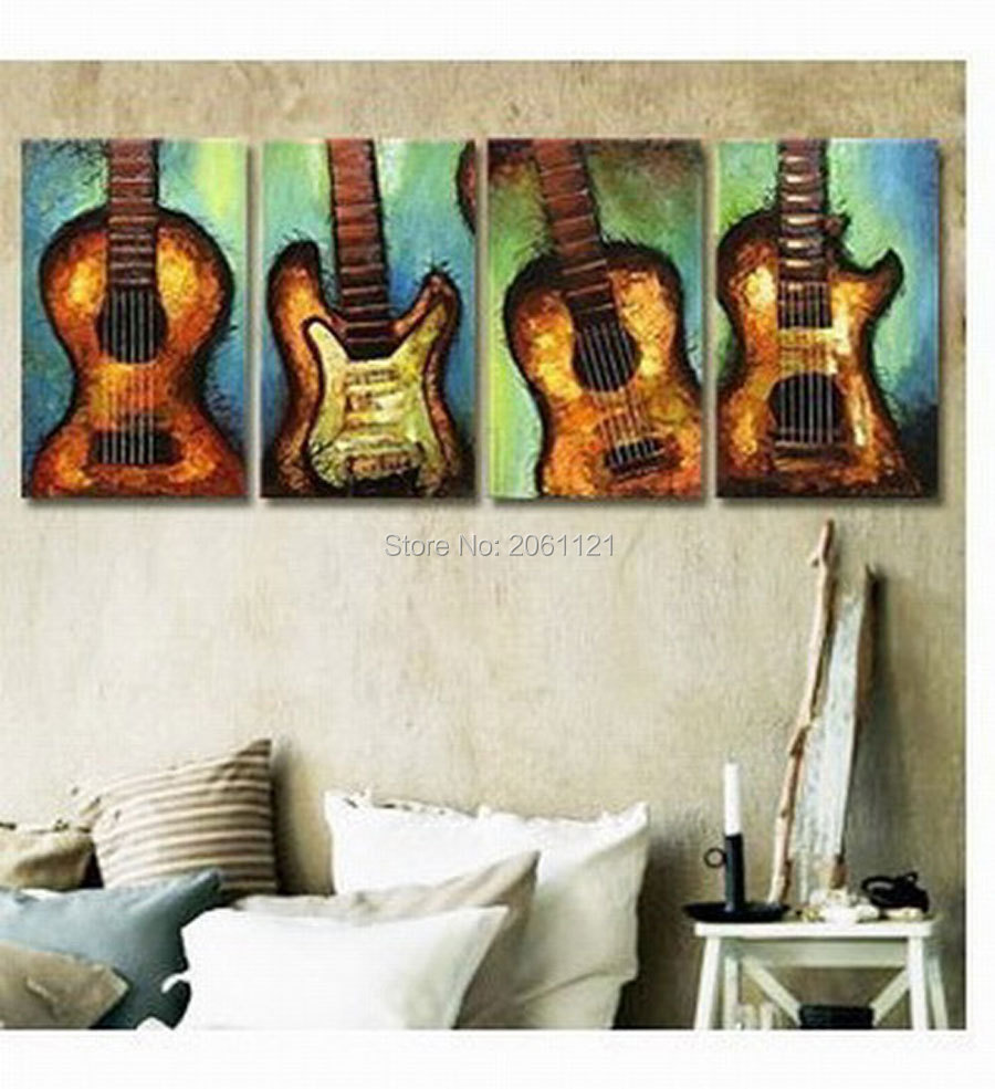 hand painted guita canvas painting music room modern sitting wall decorations muiti panels art from artist