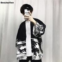 Мужское кимоно  японская одежда  уличная одежда  повседневные куртки-кимоно с волнами и ветром  кардиган в стиле Харадзюку  верхняя одежда  ...