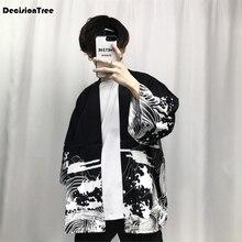2017 autumn mens kimono japanese clothes streetwear casual kimonos jackets harajuku japan style cardigan outwear