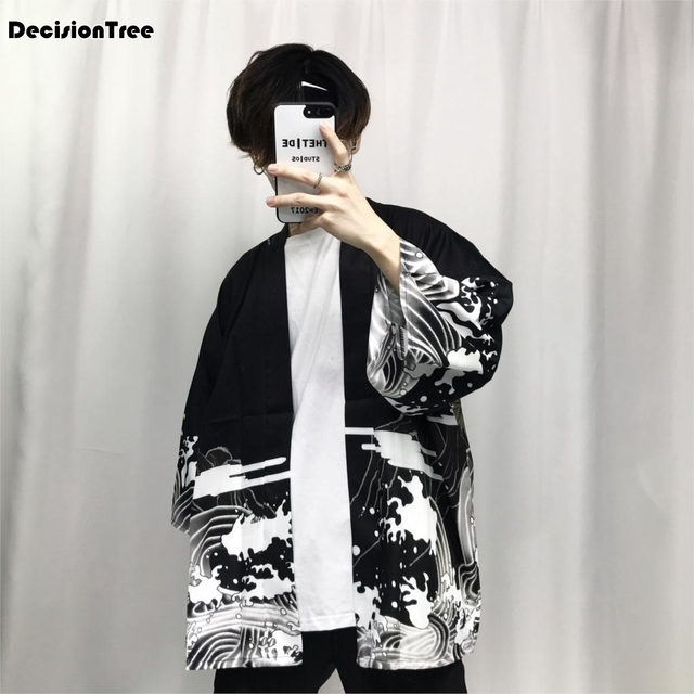 2019 summer mens kimono japanese clothes streetwear casual kimonos jackets Waves and Wind Dragn harajuku style cardigan outwear