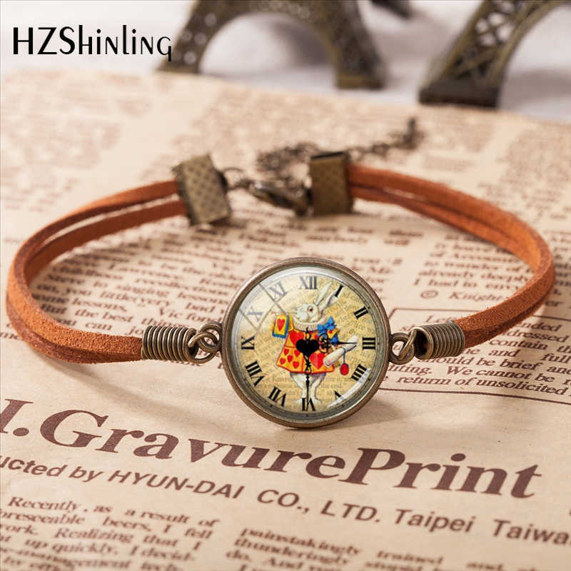 Alice in Wonderland Leather Bracelet Handmade Pendant Girls Glass Cabochon Bracelet Art Glass Cabochon Bangle for Women