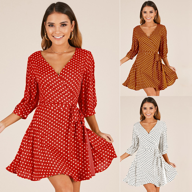 15a3372ff4c Women Tunic V Neck 3 4 Sleeve Lace up Polka Dot Printed Wrap Dress Red  White Yellow Summer Beach Holiay Chiffon Short Dress -in Dresses from  Women s ...