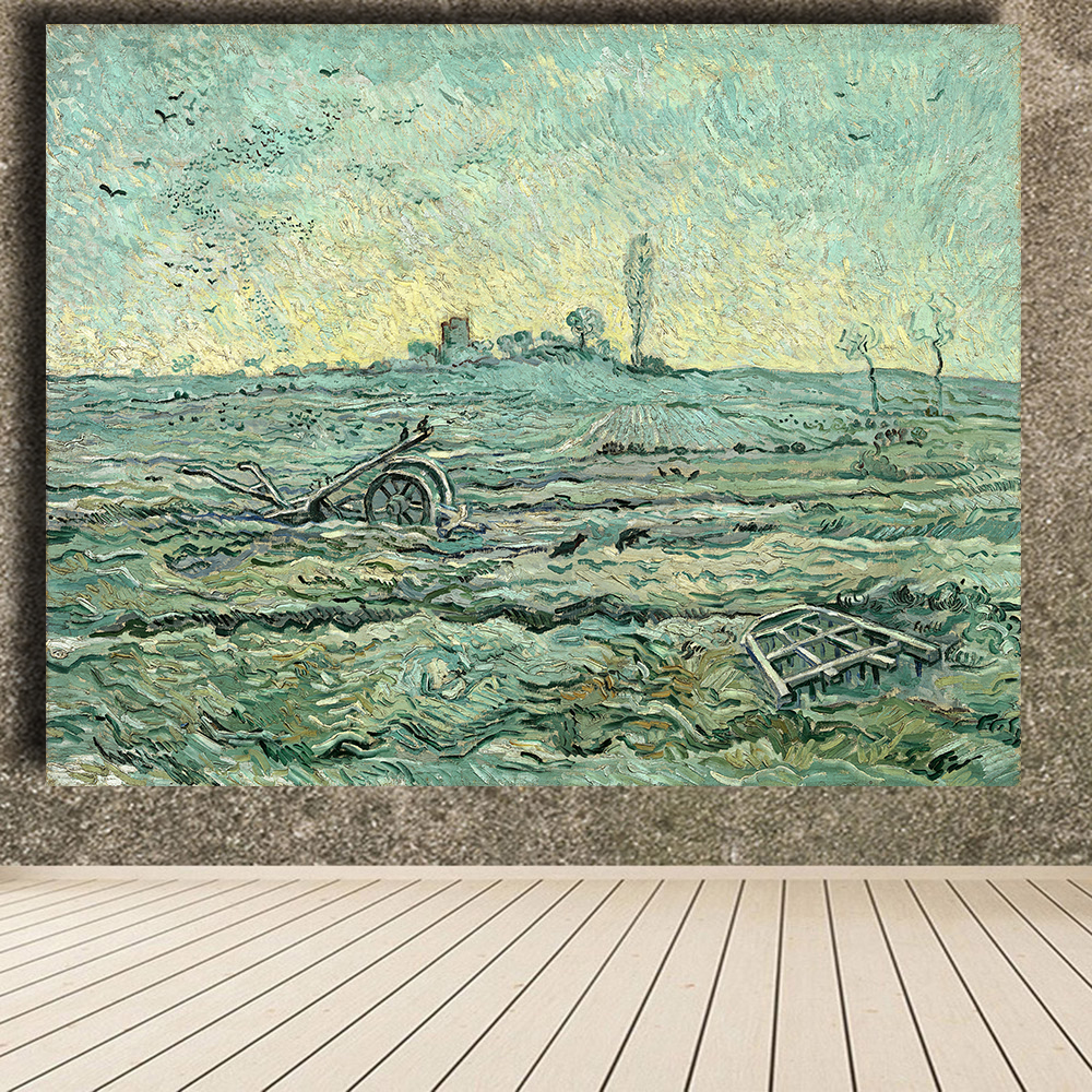HDARTISAN Snow Cover with Field with a Harrow print wall art decoration oil painting on Canvas wall painting picture