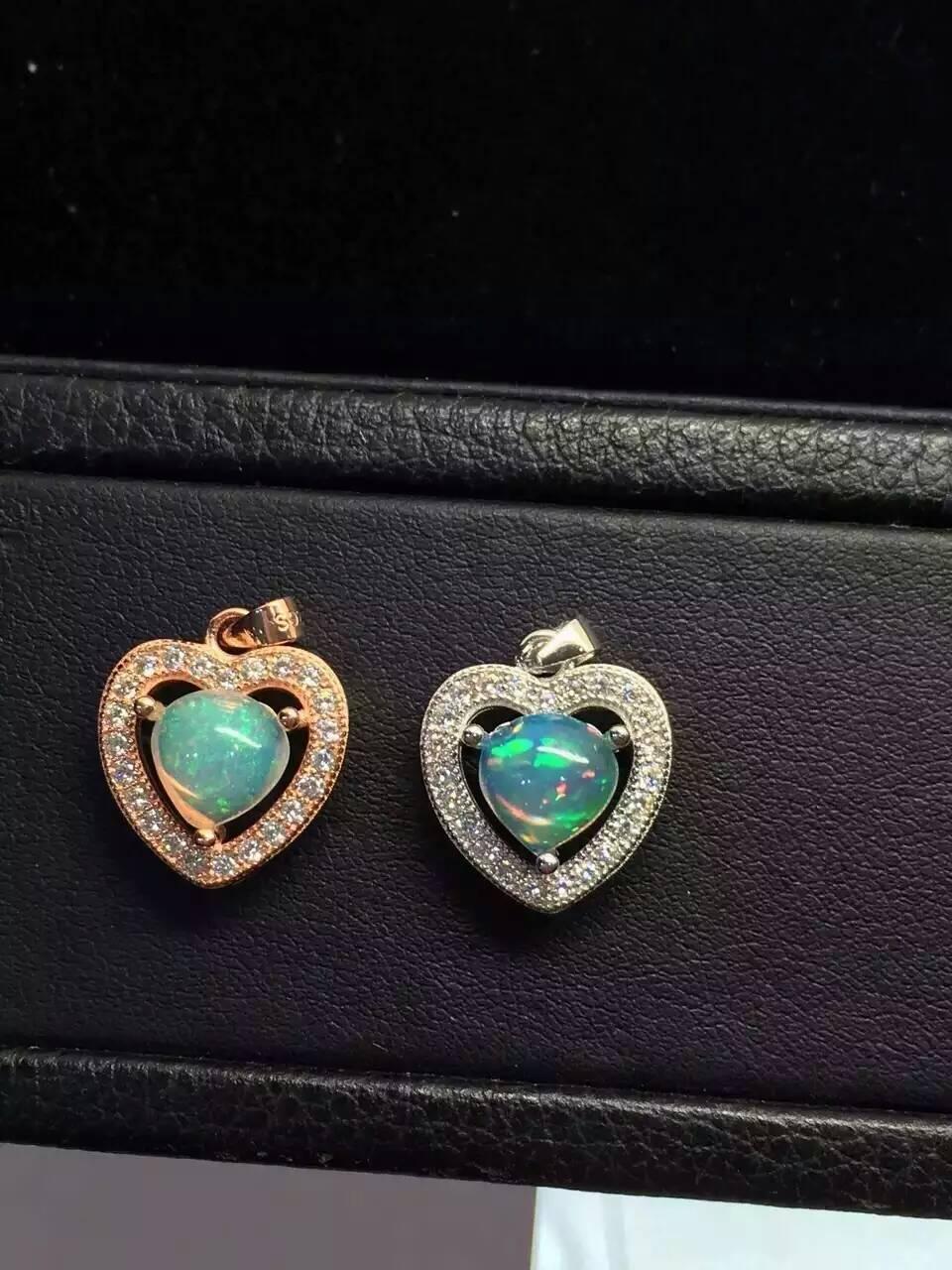 Natural opal pendant S925 silver Natural Gemstone Pendant Necklace trendy elegant Romantic heart women party fine jewelry
