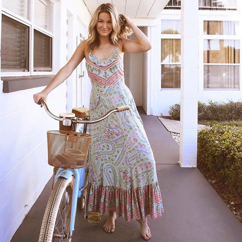 Khale Yose Summer Backless Off Shoulder Floral Print Boho Chic Women Maxi Dress Hippie Ruffles Pocket Party Bandage Long Dresses
