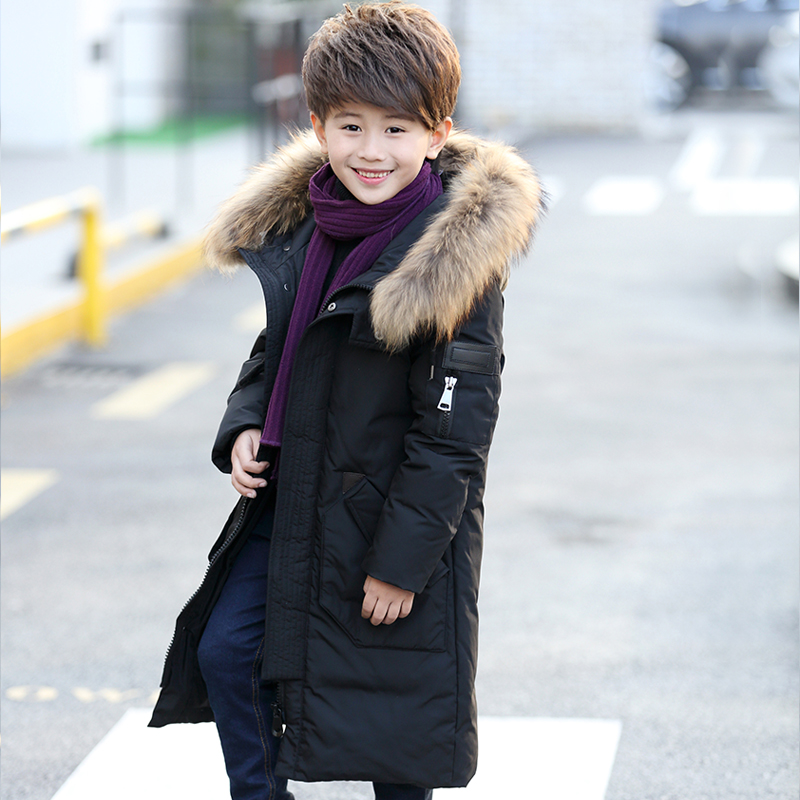 XYF8828 Boys Girls Winter Down Jackets Kids Big Fur Collar Winter Jacket Coat Warm Outerwear Long Coat 85% White Duck Down turn down fur collar winter coat middle aged men thick velvet men s leather jacket down coat winter jackets for men down jacket