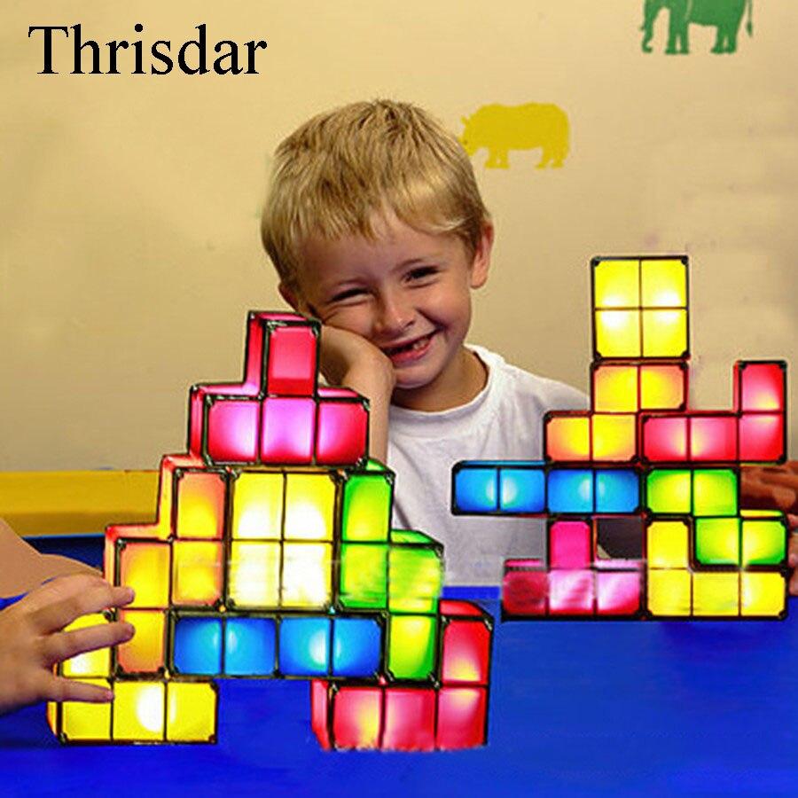 DIY Tetris Puzzle Della Novità HA CONDOTTO LA Luce di Notte Impilabile LED Desk Lampada Da Tavolo Luce Edificabile di Blocco Giocattolo Per Bambini Regalo Di Natale