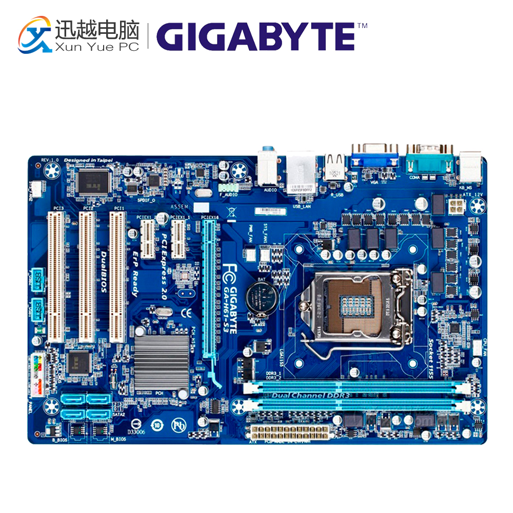 Gigabyte GA-H61-S3 Desktop Motherboard H61-S3 H61 LGA 1155 i3 i5 i7 DDR3 16G ATX ms h61xl h61 maxsun motherboard 1155 needle match g530 g620 i3 brand new and authentic two tpyes random distribution