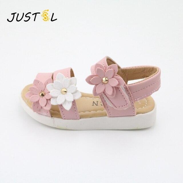 JUSTSL ילדים של נעלי 2018 קיץ ילדים חדשים נעליים יפה פרח נעלי אופנה ילדה סנדלי קסם תינוק נעלי kiad 21-36
