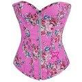 3 Cores Opcionais de Festa Clubwear Rosa Estampado Floral Do Vintage Denim Mulheres Corsette Brocade Strapless Zipper Corset Bustier Lingerie