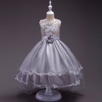 Retail High Quality Embroidery Floral Girls Wedding Dress Beading Flower Hemline Girls Evening Party Prom Trailing