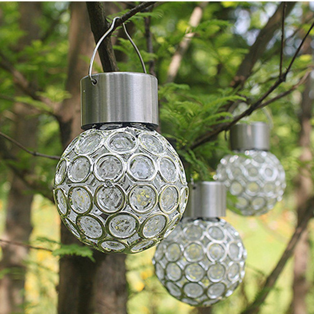 Innovative solar ball hanging led lamp outdoor color - Decorative garden lights solar powered ...