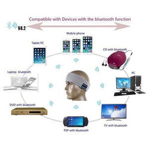 Image 5 - Aimitek Bluetooth Hoofdtelefoon Draadloze Hoofdband Sport Headsets Yoga handsfree Oortelefoon Zachte Warme Hoed Smart Cap met Microfoon