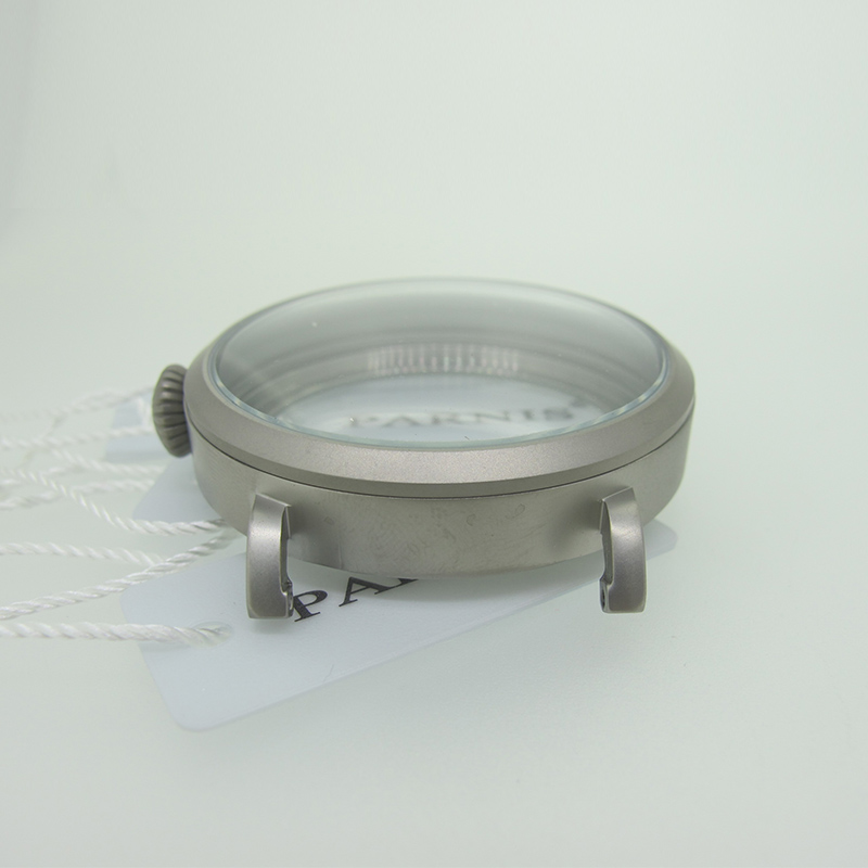46mm Matte Silver Gray Stainless Steel Watch Case fit 6498 6497 Movement,Watch Part Case with Mineral Crystal Glass