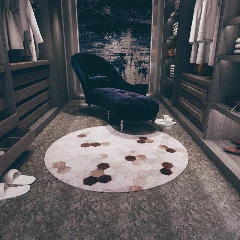 Style européen chambre peau de vache patchwork tapis ins rond en cuir tapis enfants princesse personnalité maison tapis