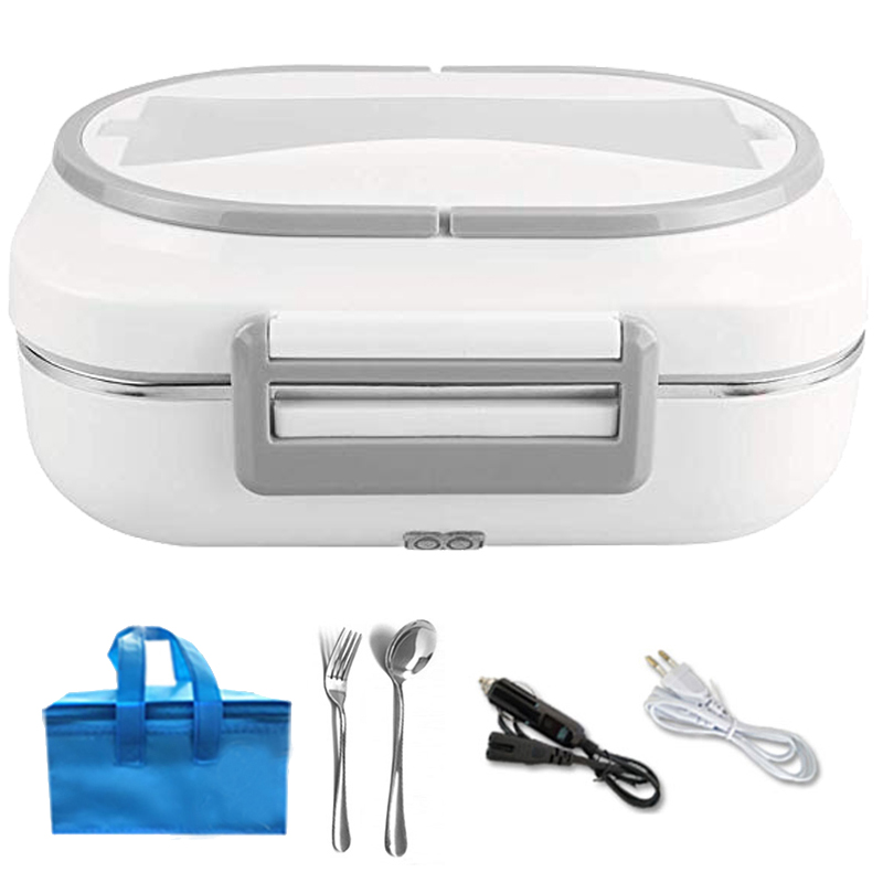 12V 220V Electric Lunch Box Stainless Steel Car Home Office Food Heater Warmer Container Portable Insulation Bento Box EU Plug|Lunch Boxes| |  - title=