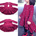 2015 New Autumn Winter  Swallow tail Dress For Baby Girls Mask pattern Dresses Cotton Kids Vestidos Cute Clothing