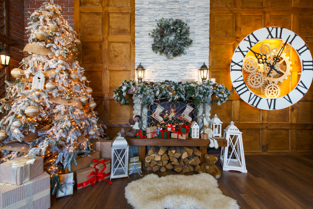 Indoor Fireplace Christmas Tree Photography Background: HUAYI Christmas Backdrop Photography Backdrops Christmas