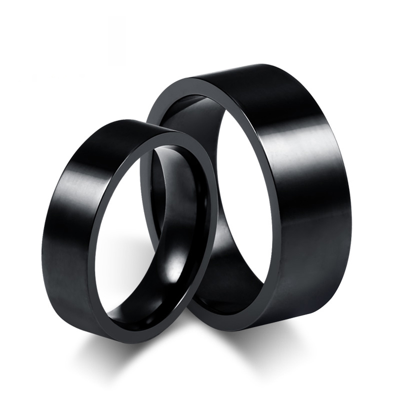 Popular His and Her Black Wedding Ring Set Buy Cheap His and Her